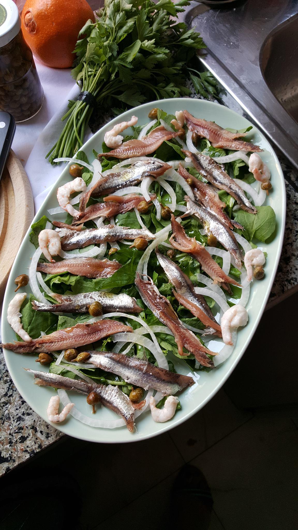 salty anchovies salad